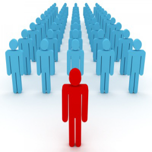 image of single figure standing in front of crowd, representing he is in front with seo